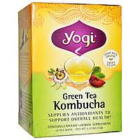 Yogi Tea, Зеленый чай с комбучей (чайным грибом), 16 чайных пакетиков, 1.12 унций (32 г), купить, цена, отзывы