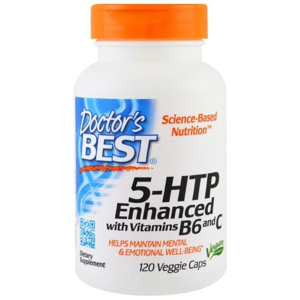 Doctors Best, 5-HTP, усиленный витаминами B6 и C, 120 растительных капсул - Интернет-магазин для здоровой жизни в Киеве