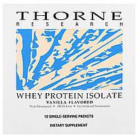 Thorne Research, Изолят сывороточного белка, со вкусом ванили, 12 пакетиков, 26,9 г каждый, купить, цена, отзывы