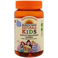 Sundown Naturals, Детские жевательные мультивитамины, Диснеевские принцессы, со вкусом винограда, апельсина и вишни, 60 штук, купить, цена, отзывы