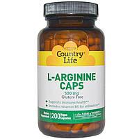 Country Life, L-аргинин в капсулах, 500 мг, 200 капсул, купить, цена, отзывы