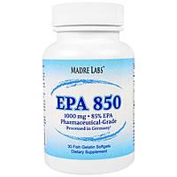 Madre Labs, EPA 850, сверхконцентрированный рыбий жир класса премиум, не содержит ГМО, не содержит глютена, 1000 мг, 30 капсул из рыбьего желатина,