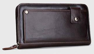 Изысканный мужской кожаный клатч-портмоне коричневый (00320)
