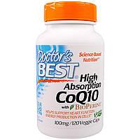Doctor's Best, CoQ10, с BioPerine, 100 мг, 120 овощных капсул, купить, цена, отзывы