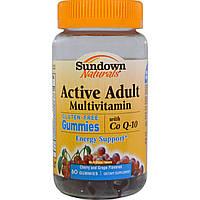 Sundown Naturals, Активный мультивитамин для взрослых, без глютена, вишневый и виноградный вкус, 60 желатиновых конфет, купить, цена, отзывы