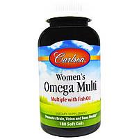 Carlson Labs, Женские мультивитамины омега, с рыбьим жиром, 180 желатиновых капсул, купить, цена, отзывы