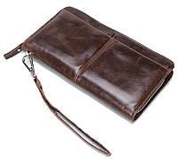 Изящный мужской кожаный клатч-портмоне из гладкой кожи коричневый (00321)