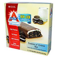 Atkins, Батончики со вкусом печенья со сливками, 5 шт. , 1,7 унции ( 48 г) каждый, купить, цена, отзывы