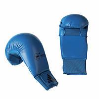 Перчатки для карате без защиты пальца Adidas WKF 2012-2015 (Синие)