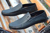 Туфли, мокасины мужские натуральная перфорированная кожа мягкие черные 2017