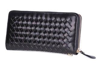 Плетеный мужской кожаный клатч-портмоне черный (00324)