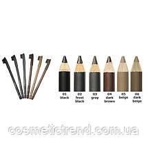 Карандаш для бровей водостойкий со щеточкой M-400/006 средний коричневый (medium brown) Malva cosmetics, фото 3