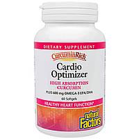 """Natural Factors, """"Куркуминовое богатство"""", пищевая добавка для оптимизации здоровья сердца, 60 капсул в растительной оболочке, купить, цена, отзывы"""