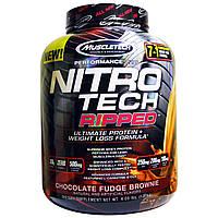 Muscletech, Nitro Tech Ripped + формула для снижения веса, со вкусом шоколадной помадки, 4,00 фунта (1,81 кг), купить, цена, отзывы