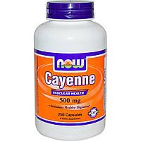 Now Foods, Cayenne, 500 мг, 250 Капсулы Вегетерианские, купить, цена, отзывы
