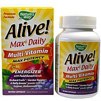 Nature's Way, Alive!, до 6 в день, мульти-витамин, максимальная активность, 90 веганских капсул, купить, цена, отзывы