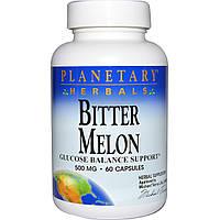Planetary Herbals, Горькая дыня, поддержка баланса глюкозы, 500 мг, 60 капсул, купить, цена, отзывы