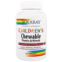 Solaray, Детские жевательные витамины и минералы, натуральный вкус черной вишни, 120 жевательных резинок, купить, цена, отзывы