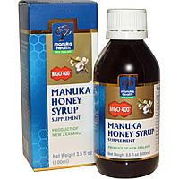 Manuka Health, Сироп с медом манука, MGO 400+, 3,5 жидких унций (100 мл), купить, цена, отзывы