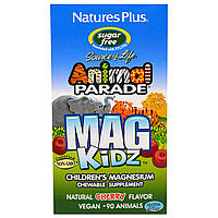 Nature's Plus, Animal Parade, Mag Kidz, Children's Magnesium, Cherry Flavor, 90 Tablets, купить, цена, отзывы