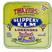 Thayers, Two Trees, пастилки с экстрактом вяза ржавого, чистый кленовый сахар, 42 пастилки, купить, цена, отзывы