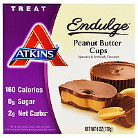 Atkins, Endulge, Арахисовое масло в чашках, 5 упаковок, 1.2 унций (34 г) каждая, купить, цена, отзывы