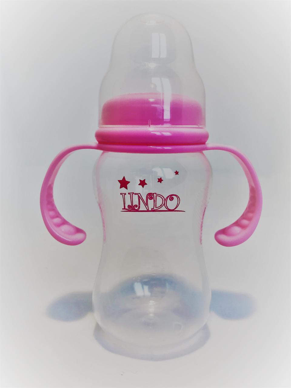 Бутылочка для кормления Lindo Premium А18 с силиконовой соской и ручками 210 мл