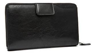 Добротный мужской кожаный клатч-портмоне черный (00327)