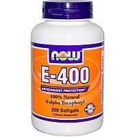 Now Foods, E-400, 100% Натуральный d-альфа токоферол, 250 желатиновых капсул, купить, цена, отзывы