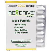 California Gold Nutrition, Rexdrive Herbal, формула для мужчин, 30 растительных капсул, купить, цена, отзывы