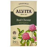 Alvita Teas, Organic, чай из красного клевера, без кофеина, 24 чайных пакетика, по 1,69 унции (48 г) каждый, купить, цена, отзывы