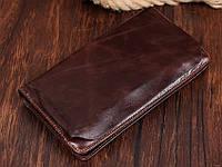 Вместительный мужской кожаный клатч коричневый (00331)