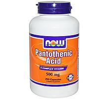 Now Foods, Пантотеновая кислота, 500 мг, 250 капсул, купить, цена, отзывы