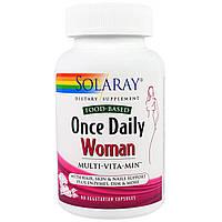 Solaray, Раз в день, витамины для женщин, Multi-Vita-Min, 90 вегетарианских капсул, купить, цена, отзывы