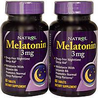 Natrol, Мелатонин, 3 мг, 2 бутылочки, 60 таблеток в каждой, купить, цена, отзывы