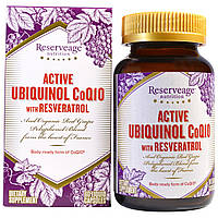 ReserveAge Nutrition, Активный убихинол CoQ10, ресвератрол, 60 капсул