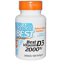 Doctor's Best, Витамин D3 (Best Vitamin D3), 2000 МЕ, 180 мягких таблеток, купить, цена, отзывы