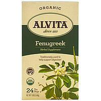 Alvita Teas, Органический чай с пажитником, без кофеина, 24 пакетика, 1,69 унции (48 г), купить, цена, отзывы