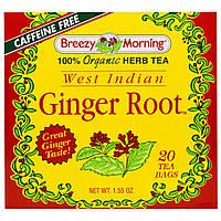 Breezy Morning Teas, Корень имбиря из Западной Индии, без кофеина 20 чайных пакетиков, 1.55 унций, купить, цена, отзывы