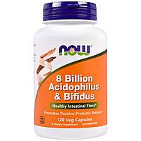 Now Foods, 8 Миллиардов Ацидофилов & Бифидобактерий, 120 вегетарианских капсул, купить, цена, отзывы
