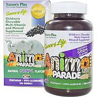 Nature's Plus, Детская Жевательная Мультивитаминная и Минеральная Добавка, Натуральный Виноградный Вкус 180 штук