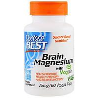 Doctor's Best, Магний Best Brain, 75 мг, 60 вегетарианских капсул, купить, цена, отзывы