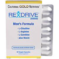 California Gold Nutrition, Rexdrive Amino, формула для мужчин, 30 растительных капсул, купить, цена, отзывы
