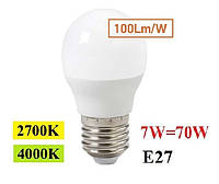 Светодиодная лампа 7W E27 LED Feron LB-195 2700К/4000КG45 шар, фото 1