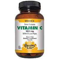 Country Life, Витамин C, с шиповником, 1000 мг, 250 таблеток, купить, цена, отзывы