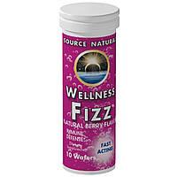 Source Naturals, Иммуностимулирующее средство Wellness Fizz, со вкусом натуральных ягод, 10 пластинок, купить, цена, отзывы