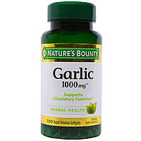 Nature's Bounty, Чеснок, 1000 мг, 100 мягких желатиновых капсул с быстрым высвобождением, купить, цена, отзывы