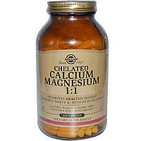 Solgar, Хелатный кальций и магний в соотношении 1:1, 240 таблеток, купить, цена, отзывы
