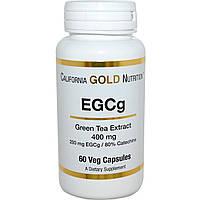 California Gold Nutrition, EGCg, экстракт зеленого чая, 400 мг, 60 растительных капсул, купить, цена, отзывы