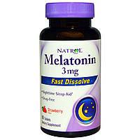 Natrol, Мелатонин, быстрорастворимые, клубника, 3 мг, 90 таблеток, купить, цена, отзывы